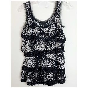 WHBM | Floral and Polka Dot Print Tiered Tank XS